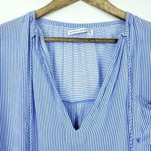 Faithfull the Brand Tops - Faithful The Brand Blue White Striped Peasant Top